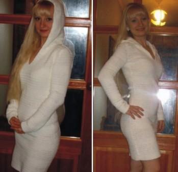 Связать женское платье теплое