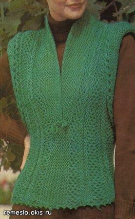 Модные вязаные жилеты женские