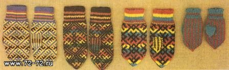 северные узоры вязание цветных узоров спицами на варежках и