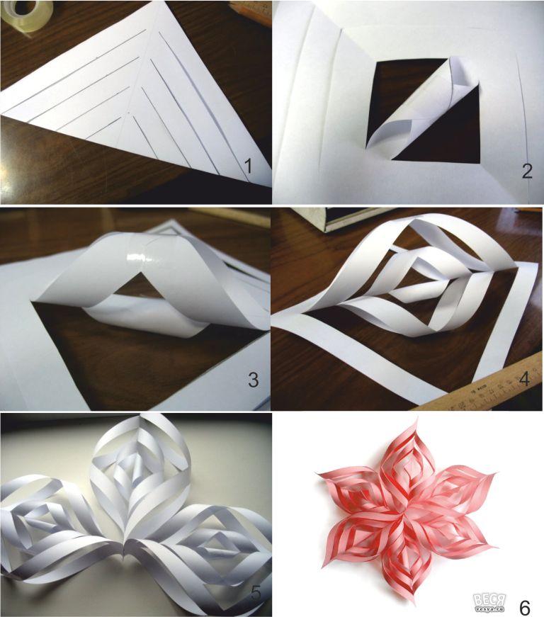 Как вырезать объемную снежинку из бумаги своими